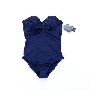LAUNDRY Women's Blue One Piece Swimsuit XS NEW